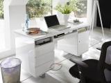 Białe biurko lakierowane na połysk