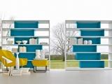 Asymetryczne kolorowe półki