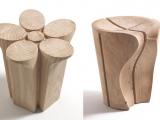 Stołki z litego drewna